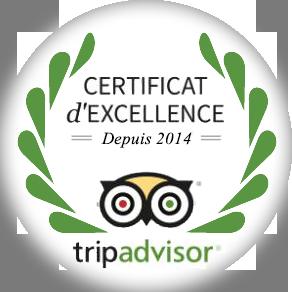 Certificat Excellence TripAdvisor
