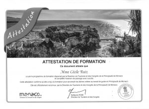 Monaco attestation Direction tourisme